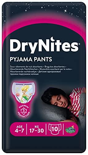 Huggies DryNites saugfähige Nachtwindeln bei Bettnässen, für Mädchen 4-7 Jahre (17-30 kg), 3 x 10 = 30 Windel-Pants, Monatsbox
