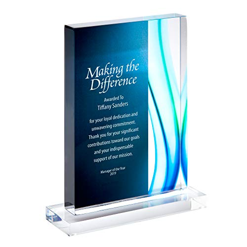 BAUDVILLE Engraved Trophy - Blue Acrylic - Rectangular Shaped - Colored Streak Accents - Personalized Engraving - Award for Employees
