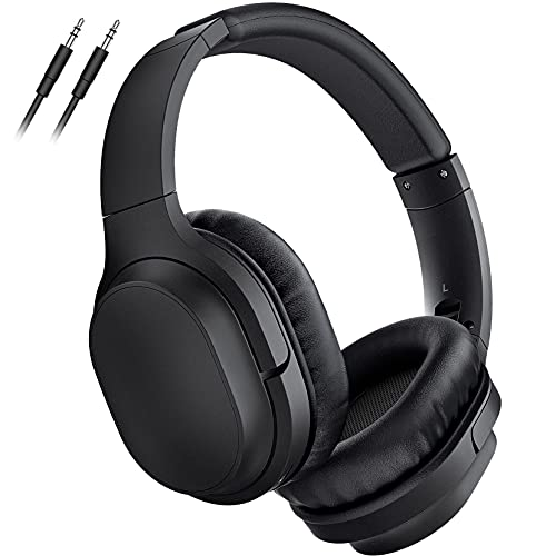 5 EQ Modes Wireless Headphones, Headphones Over Ear with CVC6.0 Noise Cancelling Microphone, 40Hrs Playtime, Wireless 5.0, Stereo Sound, Protein Earpad, Wired Headset for Travel Home Office TV