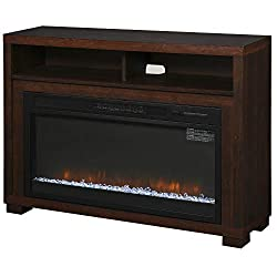 HOMCOM Multifunction Electric Fireplace TV Stand with Storage Shelf, Cable Management, and LED Flame Effect, Dark Coffee