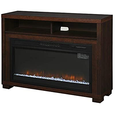 HOMCOM Multifunction Electric Fireplace TV Stand with Storage Shelf, Cable Management, and LED Flame Effect, Coffee