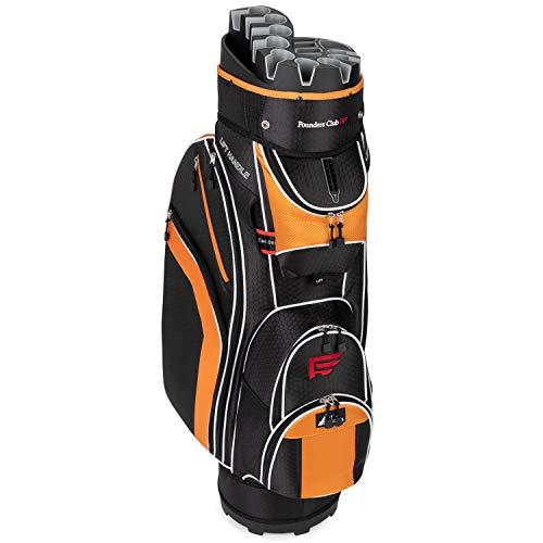 Founders Club Premium Cart Bag with 14 Way Organizer Divider Top (Orange and Black)