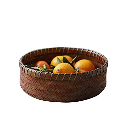 HUIJUNWENTI Bambus Obstschale, Vintage alte Obstteller, Teezeremonie Lagerung, Runde Bambuskorb, getrocknete Obstteller, Runde Hochwertige Produkte 7 (Color : Natural, Size : Three-piece)