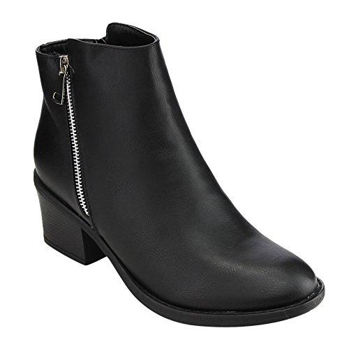Reneeze Pama-02 Women's Blocked Heels Ankle Booties,Black Faux Leather,6