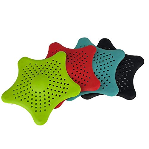 4 Package Random Color Starfish Hair Catcher Star Bathroom Drain Strainer Hair Catcher Bathtub Shower Drain Cover Hair Trap Hair Catcher Bathtub Drain Strainers Protectors Cover Filter For Kitchen