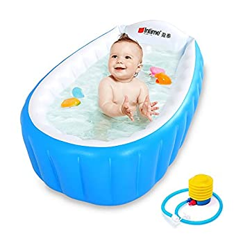 Baby Inflatable Bathtub Intime Children Anti-slippery Swimming Pool Foldable Travel Air Shower Basin Seat Baths Big Size  For 0-3 Years  with air pump  Blue