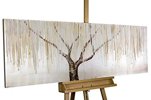 KunstLoft® Acryl Gemälde 'Trauerweide im Nebel' 150x50cm handgemalt Leinwand Bild