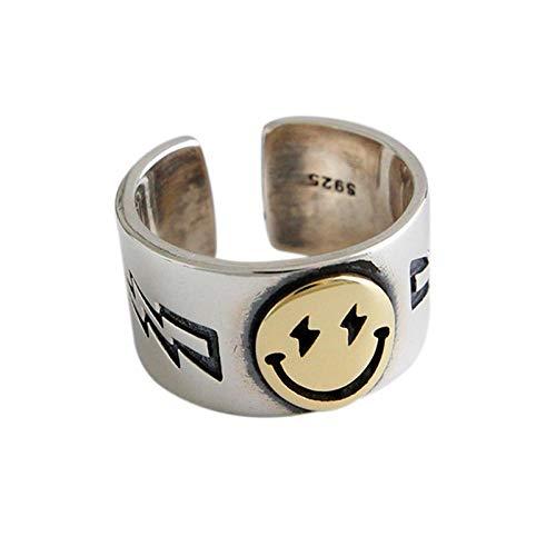 Rings For Women Large Smile Face Lightning Smiley Finger Ring Adjustable Open Metal Wide Ring Men Party Gothic Punk Gifts Orange