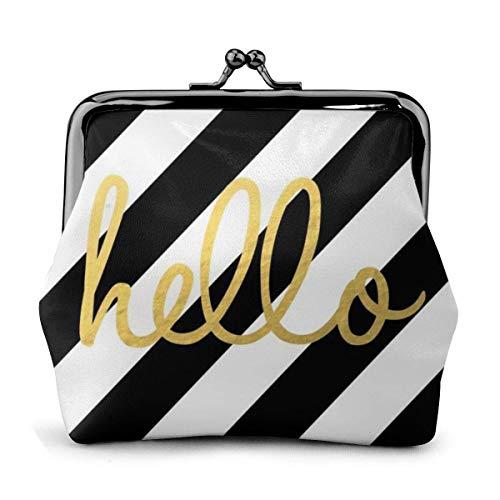 Hello Striped PU Cuero Exquisito Hebilla monederos Vintage Bolsa clásica Kiss-Lock Cambio...