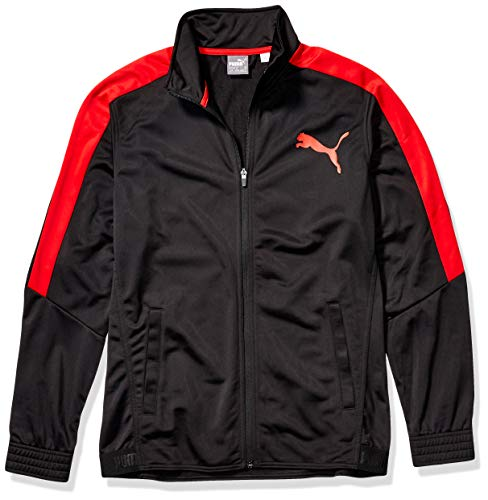 PUMA Men's Contrast Jacket, Blackpuma Red, L
