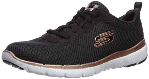 Skechers Damen Flex Appeal 3.0-First Insight Sneaker, Schwarz Rotgold, 38.5 EU