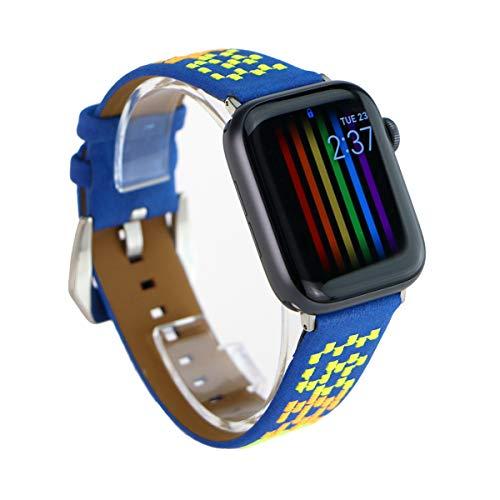 ARTCHE Correa de Reloj de Cuero para Apple Watch Correa Bordada Banda de Repuesto Vintage Correa de Muñequera, Compatible con iWatch Series 1 2 3 4 5, para Hombres y Mujeres