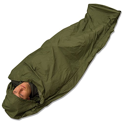 Andes Olive Green Waterproof Bivvy Bag Sleeping Bag Cover Camping Fishing, Taped Seams, 235 x 85cm