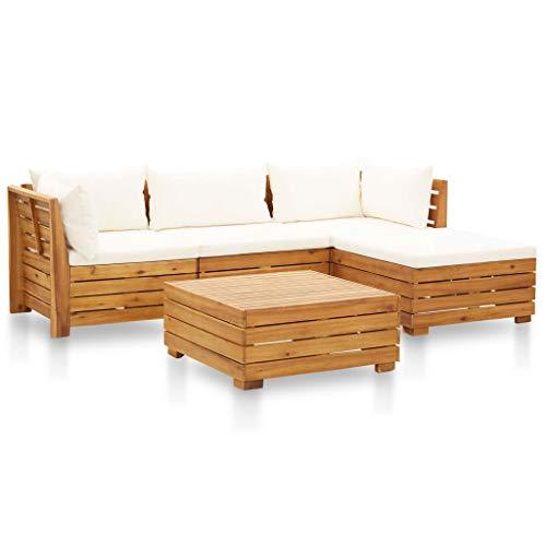 vidaXL Madera Acacia Muebles de Jardín 5 Pzas y Cojines Conjunto Exterior Patio Terraza Sofá Mesa Banco Butaca Asiento Blanco Crema