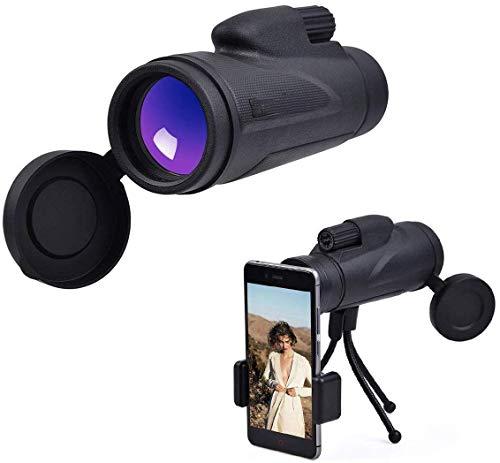 LFDHSF Monoculares Telescopio 10x52 Óptica Adaptador de teléfono Inteligente Teléfono Celular Fotografiar Telescopio portátil con Adaptador de trípode móvil