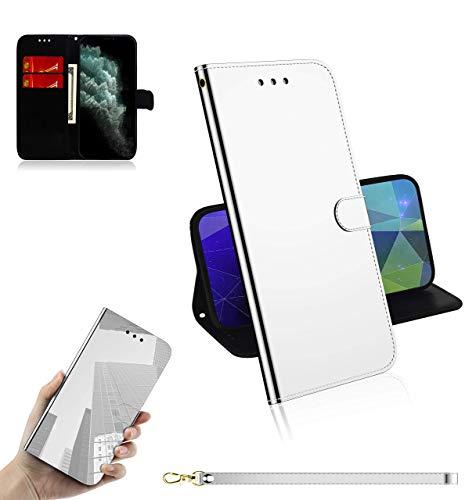 Sunrive Kompatibel mit Lenovo A1000 Hülle,Magnetisch Schaltfläche Ledertasche Spiegel Schutzhülle Etui Leder Hülle Cover Handyhülle Tasche Schalen Lederhülle MEHRWEG(Weiß)