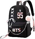 BTS - Mochila USB Jimin Suga Jin Taehyung V Jungkook K-POP para colegio, bolsa de libro para...