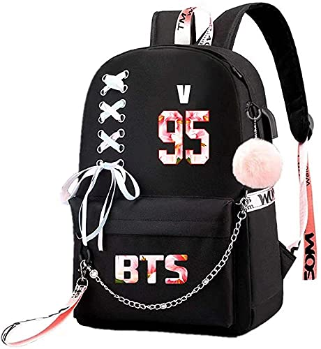 BTS - Mochila USB Jimin Suga Jin Taehyung V Jungkook K-POP para colegio, bolsa de libro para portátil, estilo9, Large