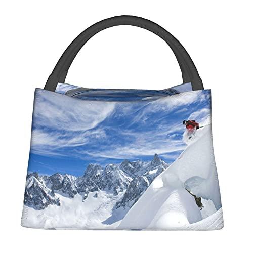 Aislado Bolsa de Enfriamiento Bolsa Térmica de Comestibles,Deportes de esquí Snow Mountain Landscape,para Office School Picnic Beach Travel