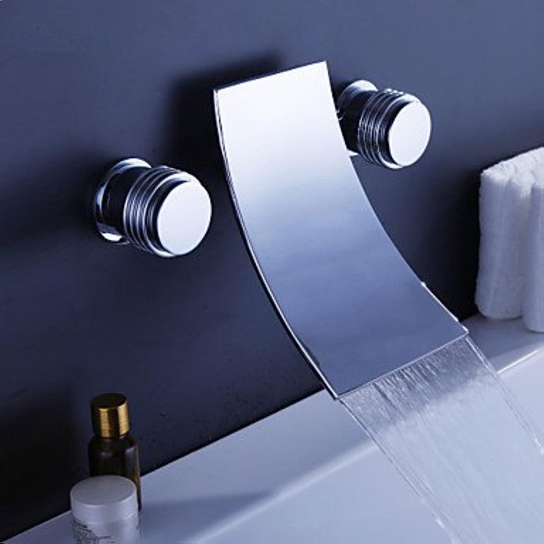 SUNNY KEY-Waschbecken Wasserhahn @ Moderne Wand montierten Wasserfall mit Keramik Ventil zwei Griffe drei Lcher für Chrome, Badewanne Wasserhahn