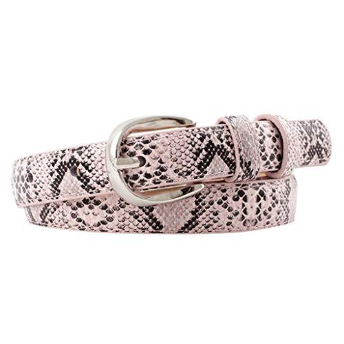 KANGMOON Damen/Herren Gürtel, Unisex Vintage Leder Snake Buckle Gürtel, lässige Gürtel Hosen Zubehör verstellbarer Gürtel (Pink)