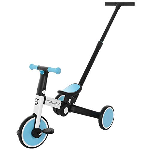 ReallyGO 5 in 1 Kids Tricycles, Tri-Color Children's Bicycles 1-5 Years Old Kids Trikes 3 Wheel Convert 2 Wheel Toddler Bike with Adjustable Pushers, Tricycle Ideal for Boys Girls (Blue)