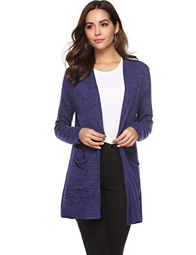 Abollria Damen Langarm Cardigan Dünne Leichte Feinstrickjacke mit Tasche Casual Lockere Strickmantel,Navyblau,XL