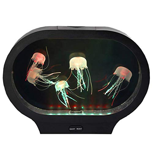 Playlearn Moving Jellyfish Tank with LED Lights, Stunning! New Oval Shape