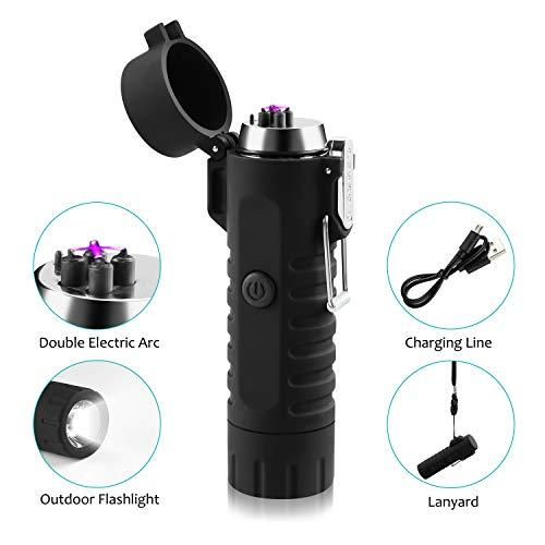 Funxim USB-aansteker, oplaadbaar met dubbele plasma-arc, vlamloze aansteker met zaklamp, waterdicht en winddicht, voor sigaret, keuken, outdoor, BBQ, camping