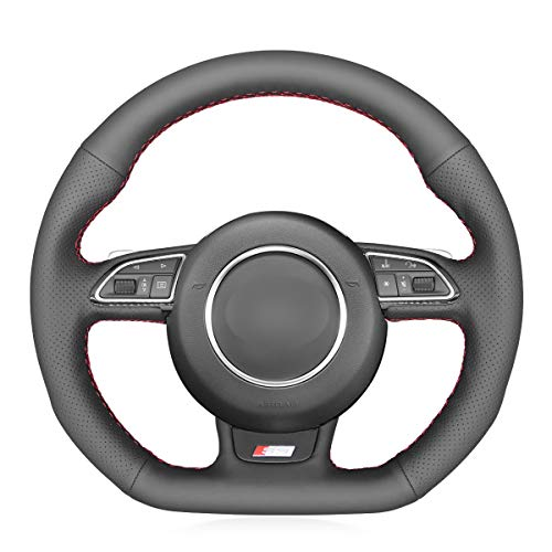 MEWANT Black Artificial Leather Car Steering Wheel Cover for Audi A5 2013-2017 / A7 2012-2018 / RS 5 2013-2015 / RS 7 2014-2018 / S3 2015-2016 / S4 2013-2016 / S5 2013-2017 / S6 2013-2018 / S7 2013