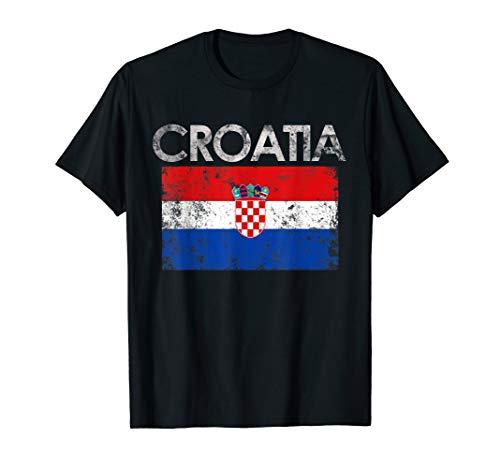 Vintage Croatia Croatian Flag Pride Gift T-Shirt
