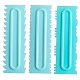 Yuehuam 3 unids / set peine de decoración y herramienta de suavizado de hielo raspador pastel de decoración peine de pastel raspador de crema espátula de fondant más suave espátula de pastelería...