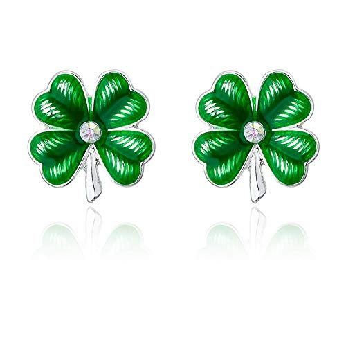 RareLove Silver Plated Shamrock CZ Crystal Piercing Stud Earrings Alloy St Patrick's Day Gift For Women Girls