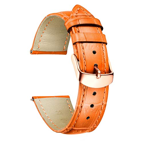 BINLUN 時計バンド 時計ベルト ストラップ 腕時計用 本革製 交換 バンド 革ベルト 10色 シンプル 軽量 ワニ柄 交換便利 防水 防汗 男女通用 取り道具付 プレゼント GR-オレンジ 16mm