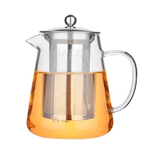 bestonzon hitzebeständiges Glas Teekanne High Borosilikat Loose Leaf Teekanne mit Resteschale Edelstahl 950ml
