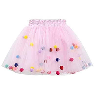 GoFriend Tutu Skirt Baby Girls Tulle Princess Dress 4-Layer Fluffy Ballet Skirt with Pom Pom Puff Ball Pink