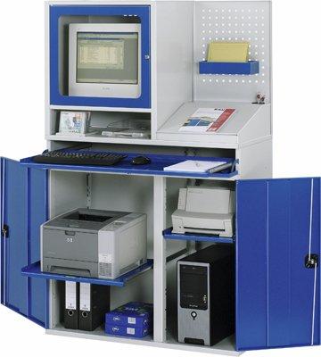Schrank, BxTxH 1100x520x1060/1770 mm, 3 Auszugböde n, Monitorgehäuse Tiefe 520 mm, Schreibaufsatz, Lo