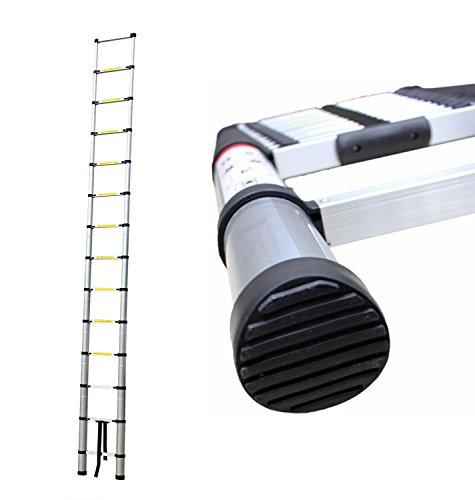 Leogreen - Echelle Telescopique, Échelle Extensible, 4,1 mètre(s), Sac de transport OFFERT, EN 131, Charge maximale: 150 kg, Distance entre les marches (échelle déployée): 30 cm
