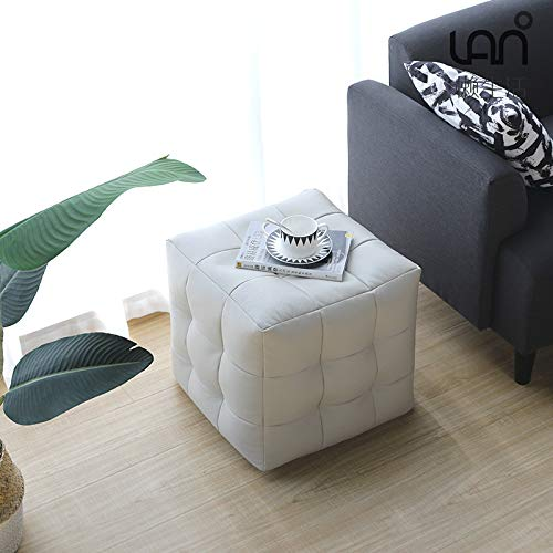 HJJ Nordic Sofa Stool Footstool Creative Living Room Leather Stool Japanese Tatami Small Household Square Stool Single Low Stool