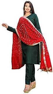 Women's Rayon Plain Kurti Pant with Bhandej Gota Patti Dupatta for Young Girl Sleeve Round Neck
