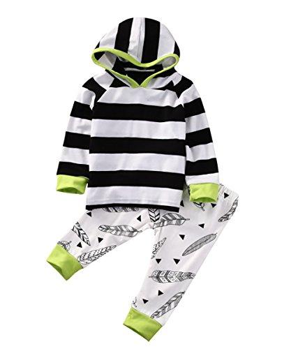 MaBaby Roupas para bebês meninos e meninas Roupas listradas Roupas com capuz + Calças