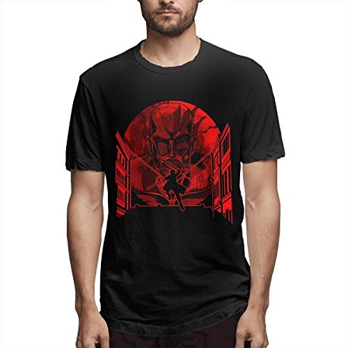 NR GuANvgITS Hombre Attack On Titan That Day Printing T-Shirt Patrón Impreso T-Shirt Negro XXXX-Large