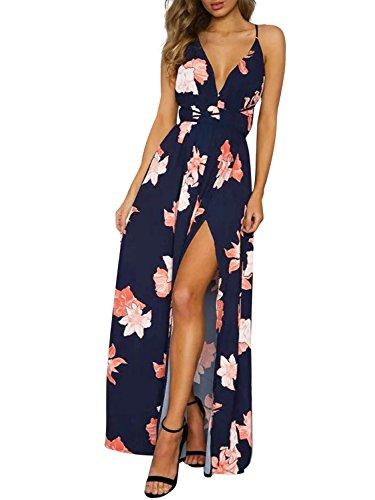 Missy Chilli Damen Partykleid Sexy Blumen V-Ausschnitt Rückenfrei Maxi Lang Träger Kleid Abendkleid Strandkleid Blau
