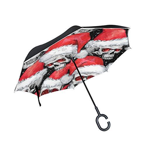 Regenschirm mit weihnachtlichem Totenkopf, doppelschichtig, umgekehrt, wasserdicht, winddicht, groß, gerade, Polyester Regenschirm für Sonne und Regen, mit C-förmigem Griff