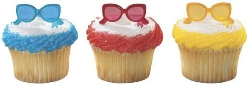 24 Sunglasses Cupcake Picks Beach Lake Cake Toppers Decorations Party Supplies