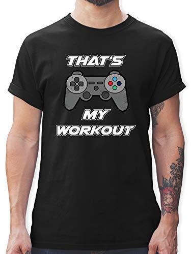 Nerds & Geeks - Gaming That\'s My Workout - XL - Schwarz - t-Shirts Gaming - L190 - Tshirt Herren und Männer T-Shirts