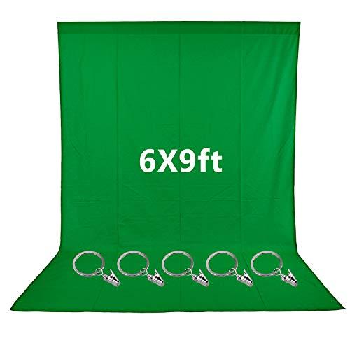 Neewer 1,8 x 2,7 Meter grüner Musselin-Hintergrund mit 5 teiligen Ring Metall Halteklammern für Foto- und Videostudio, ideal für Porträts und Produktaufnahmen