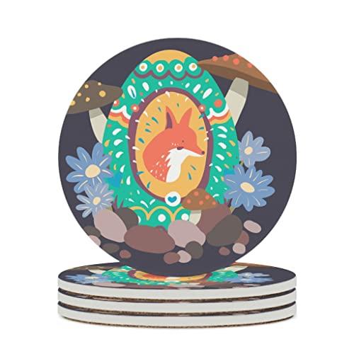 Facbalaign Posavasos de cerámica Kitsune y seta con base de corcho resistente a los arañazos, redondo, no tóxico, 4 unidades, color blanco