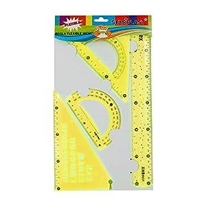 Starplast Set de Reglas, Juego de Reglas, Regla 30cm, Escuadra, Cartabón con ABC y Transportador, Flexibles, para uso…