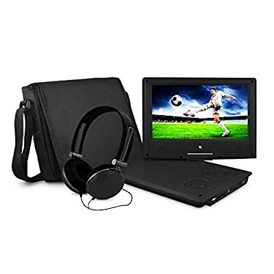 Ematic Personal DVD Player with 9-Inch Swivel Screen, Headphones, Carrying Case